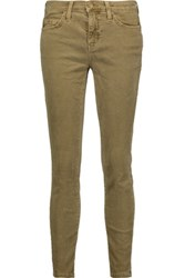 Current Elliott The Stiletto Cotton Blend Corduroy Skinny Pants Sage Green