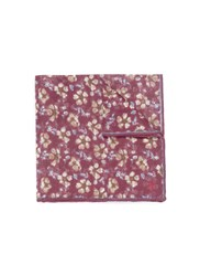 Isaia Floral Print Linen Pocket Square Red