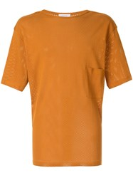 Christophe Lemaire Chest Pocket Perforated T Shirt Orange