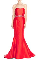Terani Couture Embellished Back Bow Satin Mermaid Gown Red