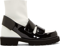 Msgm Black And White Velcro Shoe Boots