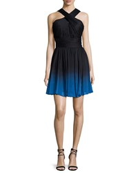 Halston Heritage Crisscross Neck Ombre Party Dress Black Cobalt