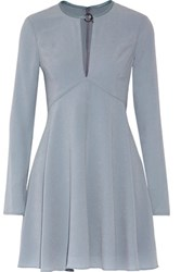 Halston Heritage Leather Trimmed Pleated Crepe Mini Dress Sky Blue