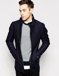 Reiss Asymetric Button Up Coat Navy