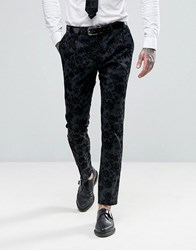 Noose And Monkey Super Skinny Tuxedo Trousers In Flocked Floral With Stretch Black Grey