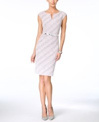 Connected Printed Cap Sleeve Sheath Dress Pink