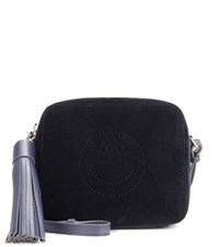 Anya Hindmarch Smiley Crossbody Velvet Bag Blue