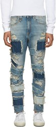 R 13 R13 Blue Patchwork Drop Jeans