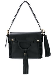 Borbonese Fringed Shoulder Bag Women Cotton Leather One Size Black
