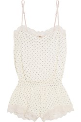 Eberjey Hope Teddy Lace Trimmed Printed Stretch Jersey Playsuit Ivory