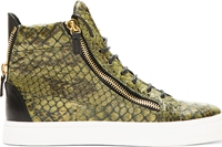 Giuseppe Zanotti Green Embossed Birel High Top Sneakers