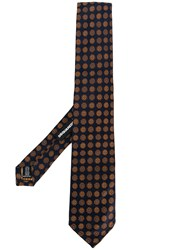 Dsquared2 Floral Embroidered Tie Blue