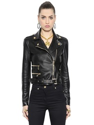 Versace Nappa Leather Moto Jacket Black