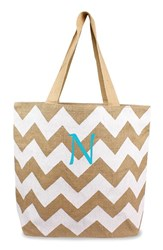 Cathy's Concepts Personalized Chevron Print Jute Tote White White Natural N