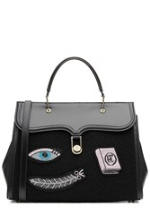 Olympia Le Tan Embroidered Leather Tote Black