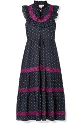 Figue Lila Ruffle Trimmed Embroidered Polka Dot Cotton Voile Dress Navy