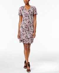 Connected Printed Tiered Shift Dress Pink