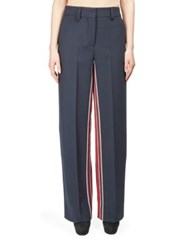 Cedric Charlier Wide Leg Trousers With Sport Stripes Navy