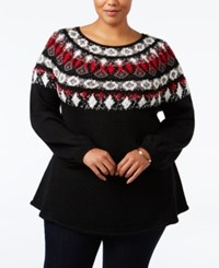 Styleandco. Style Co. Plus Size Space Dyed Fair Isle Sweater Only At Macy's Deep Black Combo