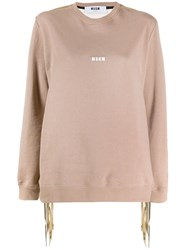 Msgm Knitted Sweatshirt Brown