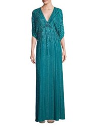 Jenny Packham Sequin Embellished Gown Emerald