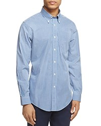 Brooks Brothers Plaid Slim Fit Button Down Shirt Open Blue