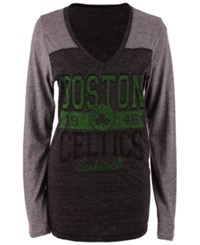 5Th And Ocean Women's Boston Celtics Dunk Long Sleeve T Shirt Black Heather Gray