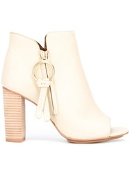See By Chloe Peep Toe Ankle Boots Nude Neutrals