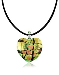Antica Murrina Veneziana Passione Murano Glass Heart Pendant Gold Green
