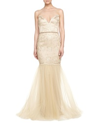 Badgley Mischka Beaded And Lace Illusion Neck Gown Gold
