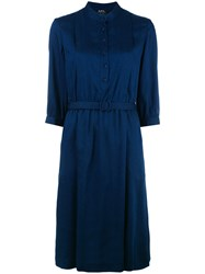 A.P.C. Pleated Shirt Dress Blue