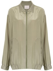 Sissa Silk Oversized Blouse Green