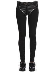 Alyx Slim Studded Faux Leather And Denim Jeans