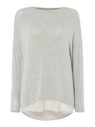 Label Lab Knit And Chiffon Layered Top Mineral