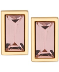 T Tahari Gold Tone Rectangle Pink Crystal Stud Earrings Dark Peach Gold