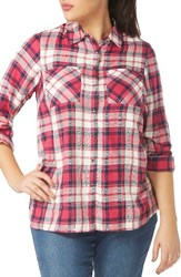 Evans Plus Size Women's Check Twill Shirt Pink