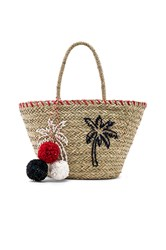 Sundry Palm Trees Straw Tote Tan