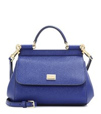Dolce And Gabbana Sicily Leather Shoulder Bag Blue