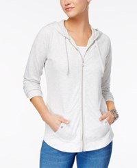 Style And Co Zip Front Jacket Created For Macy's White Heather