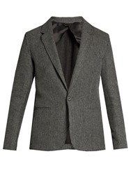 Lanvin Notch Lapel Cotton Knit Blazer Grey