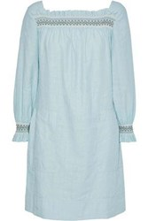 Mih Jeans Reyes Smocked Linen And Cotton Blend Mini Dress Sky Blue