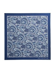 Paul Costelloe Farringdon Floral Paisley Pocket Square Blue