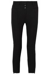Ann Demeulemeester Cropped Wool And Cotton Blend Slim Leg Pants Black