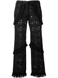Simone Rocha Embroidered Cropped Trousers Black