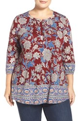 Lucky Brand Plus Size Floral Border Print Top