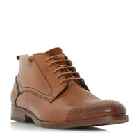Bertie Conga Perforated Casual Lace Up Boots Tan