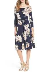Soprano Women's Off The Shoulder Floral Print Fit And Flare Dress
