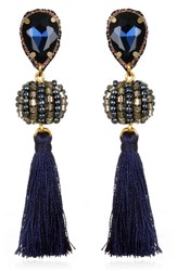 Suzanna Dai Women's Lisboa Small Tassel Gumball Drop Earrings Navy Gunmetal