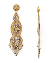 Miguel Ases Beaded Linear Chandelier Drop Earrings Rose