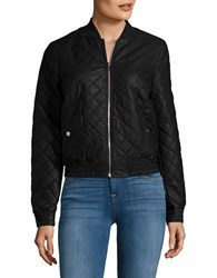 Vero Moda Faux Leather Quilted Bomber Jacket Black